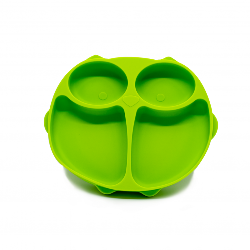 Callowesse Animal Silicone Plate – Green Owl